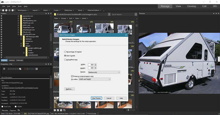 ACDSEE Pro resize RV images in batch