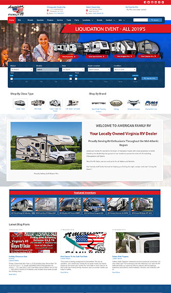 american family rv web design