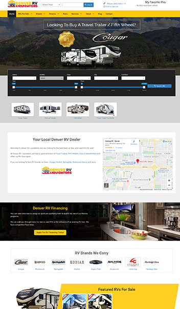 denver RV liquidators web design