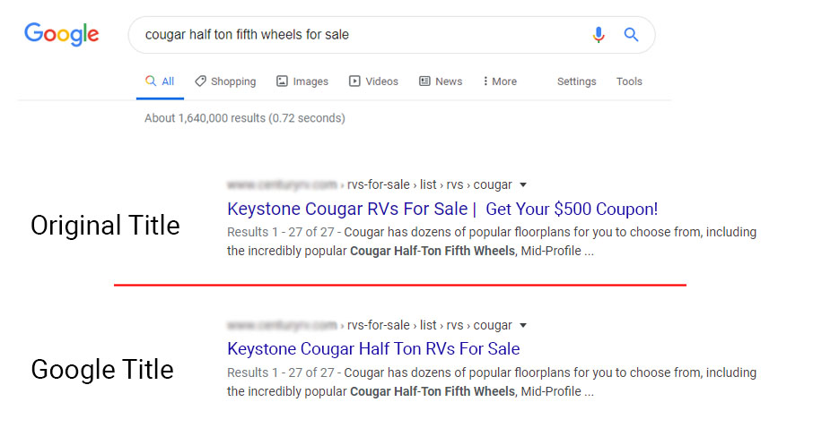 Google Changes seo title organic results